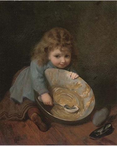 """""""Scraping the bowl."""" ca. 1879. Oil on canvas."""