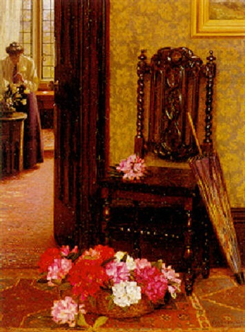 """Arranging Flowers."" 1908. Oil on canvas."