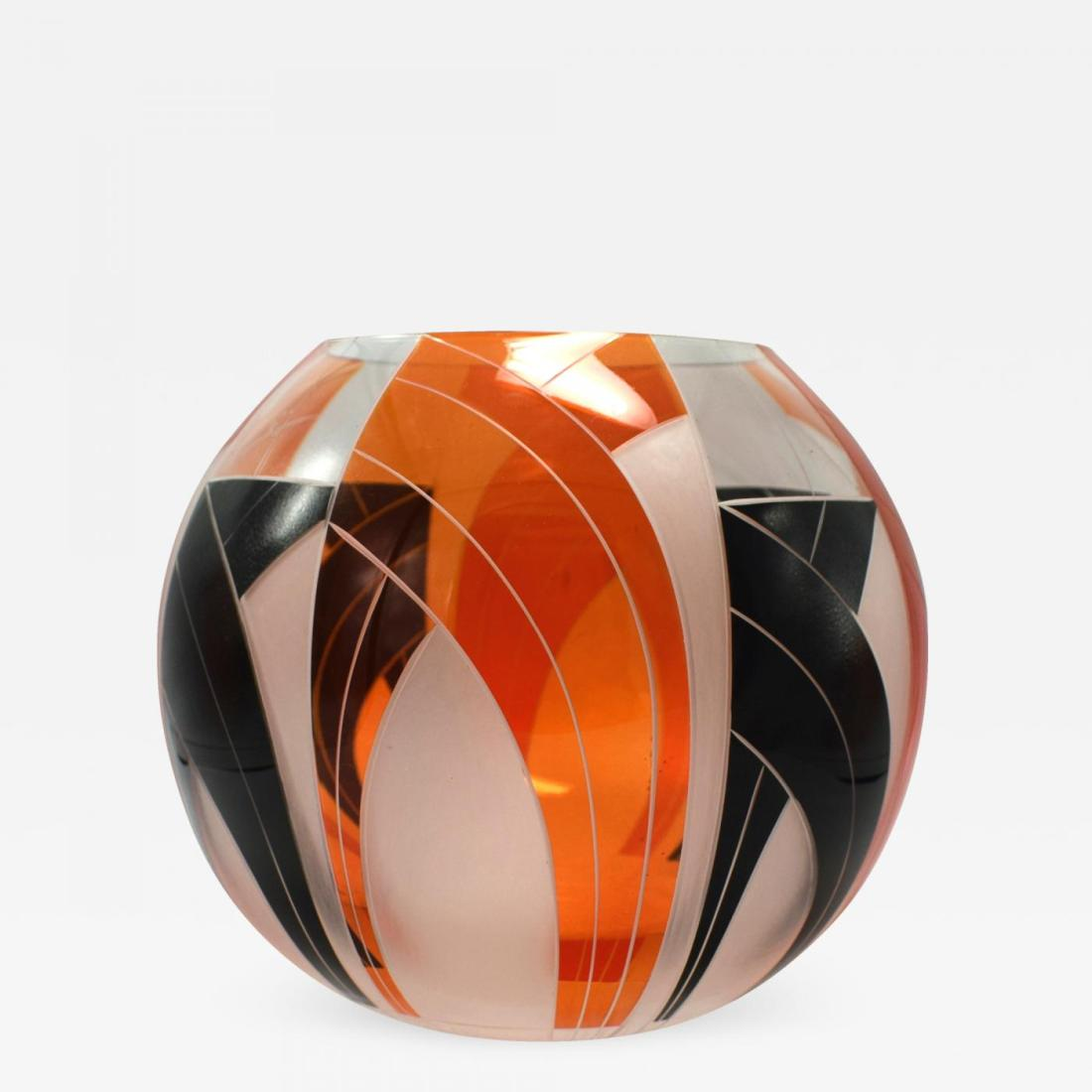 Glass vase, applied enamel with frosted glass segments. a. 1935.