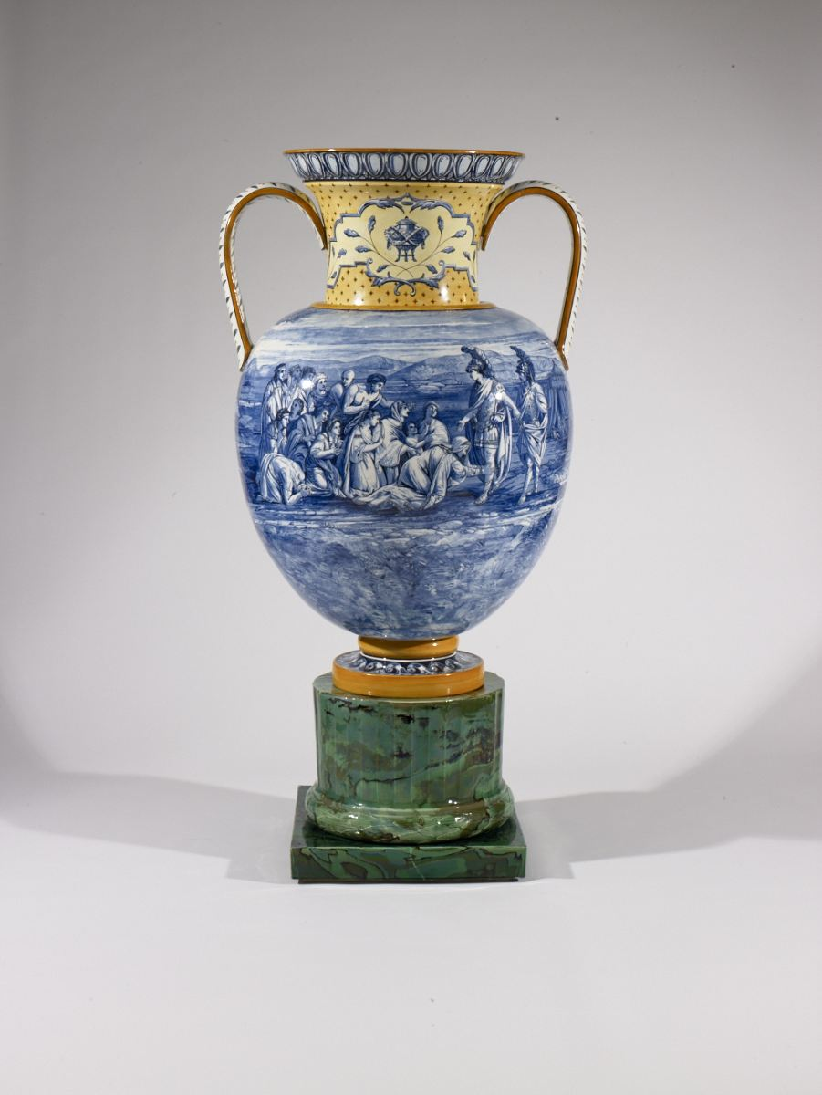 Vase. 1862-63. Lead-glazed creamware and jasperware.