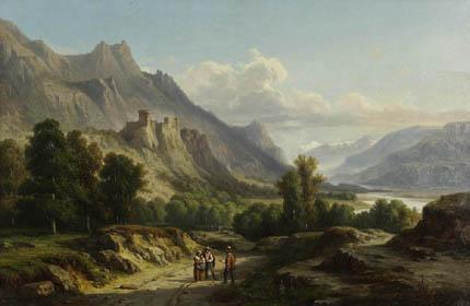 """""""Vue du château de Miolans."""" 1855."""