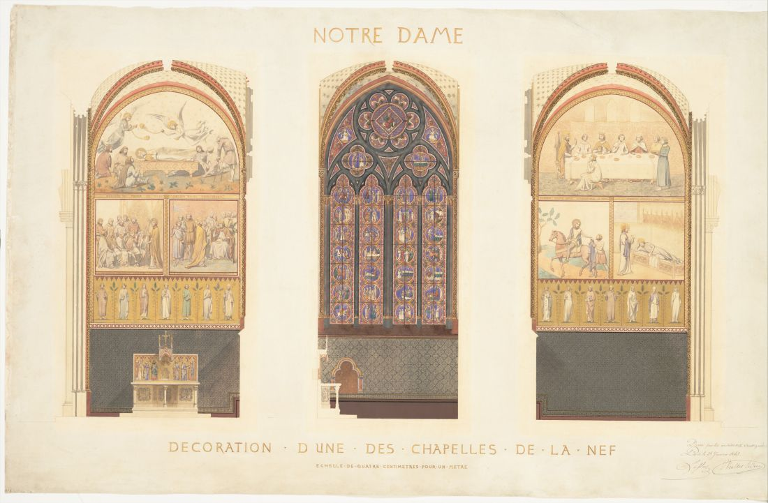 """Plan for the Renovation of a Chapel in the Nave of the Cathedral of Notre Dame."" 1843."