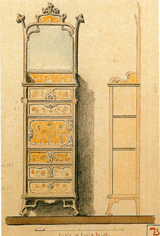 Dresser with mirror. 1899.