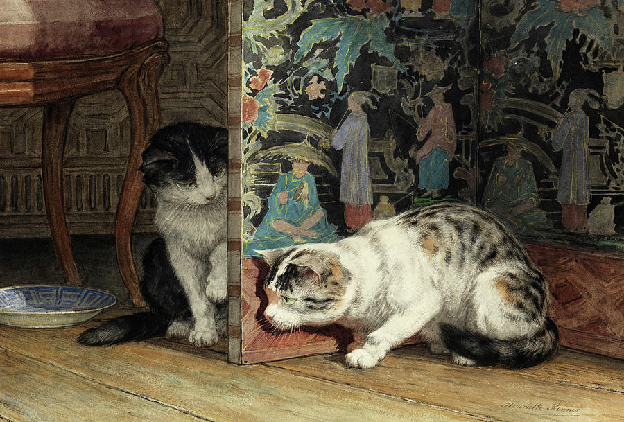 """Playing Cats."" 19th c."