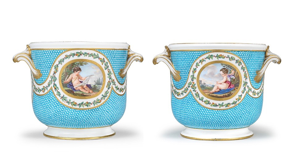 Pair of bottle coolers from a service commissions by Madame Du Barry