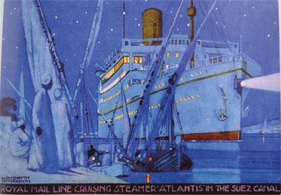"""Royal Mail Line cruising steamer Atlantis in the Suez Canal."" 20th c."