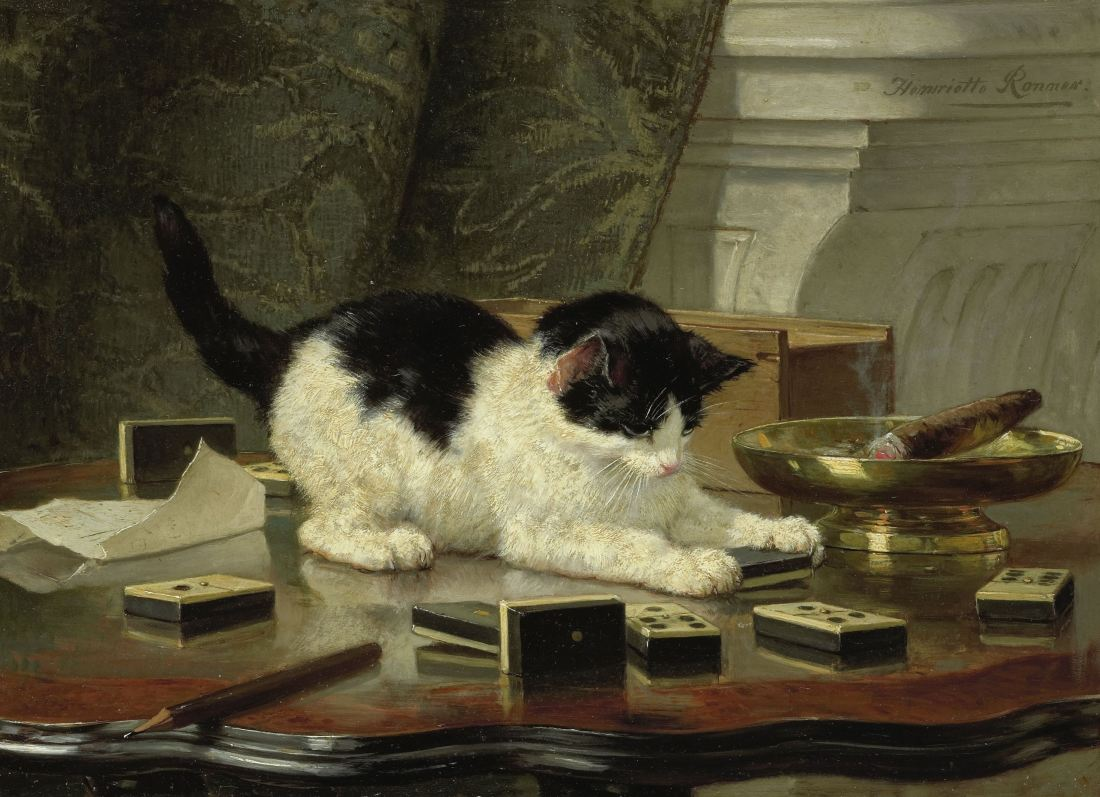 """The Cat at Play."" ca. 1860-78. Oil on panel."