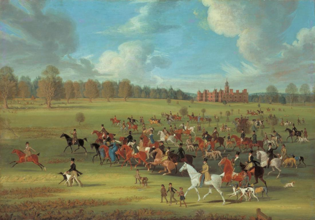 """Coursers Taking the Field at Hatfield Park, Hertfordshire, the Seat of the Marquess of Salisbury."" Exhibited in 1824."