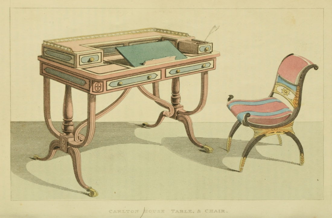 Table and chair from Carlton House. Plate 23. 1814.
