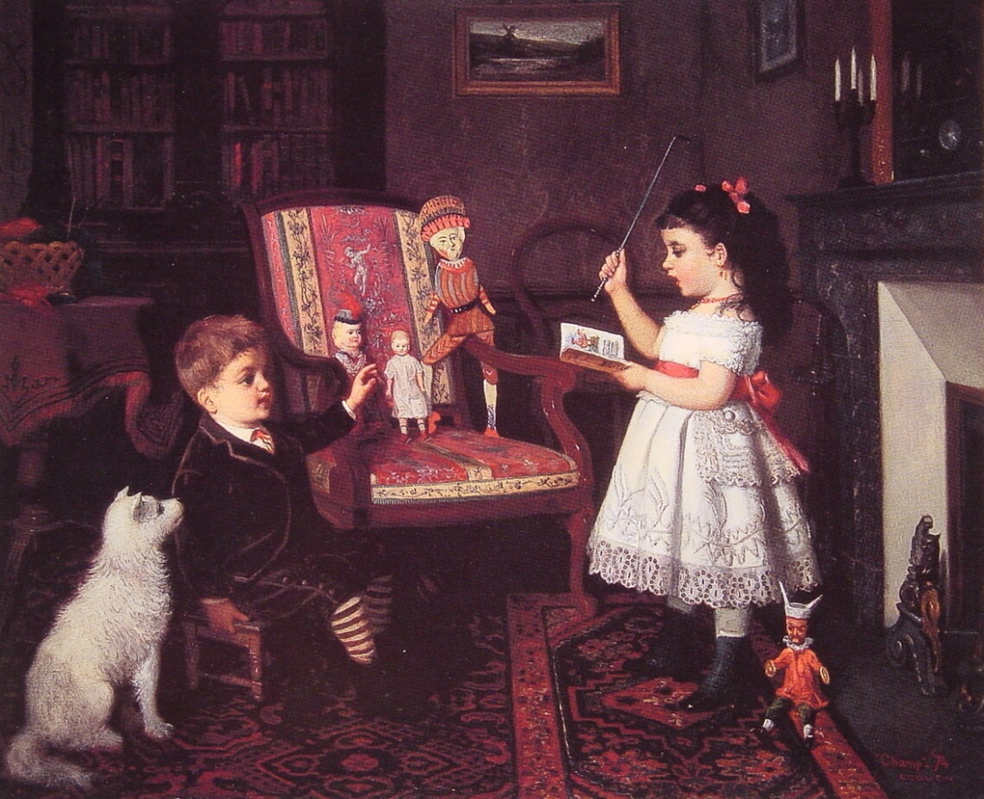 The-Lesson-James-Wells-Champney-Oil-Painting
