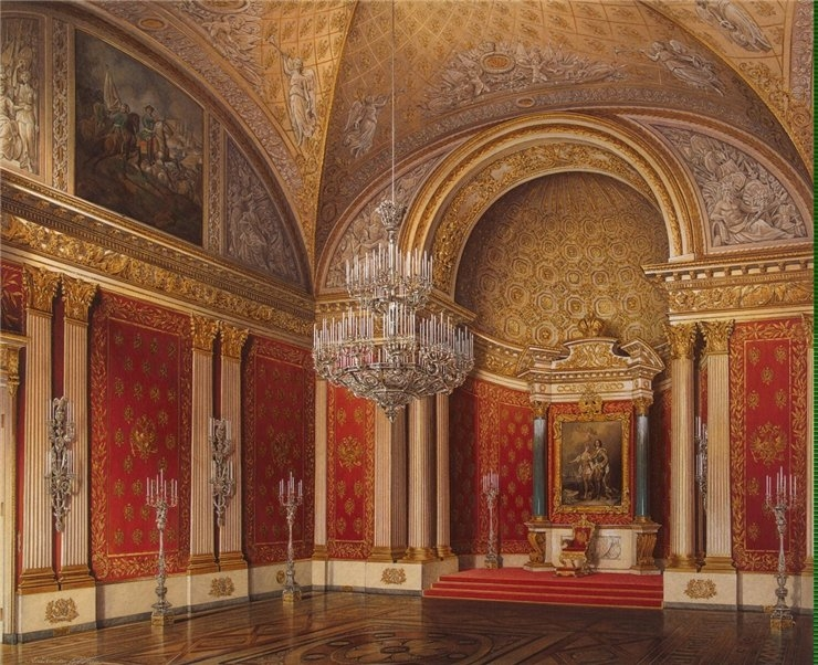 The Peter HallI, from the series Interiors of the Winter Palace.1850's. Russian. Watercolor. Edward Petrovich Gau, artist(1807-1887). via englishrussia.com.
