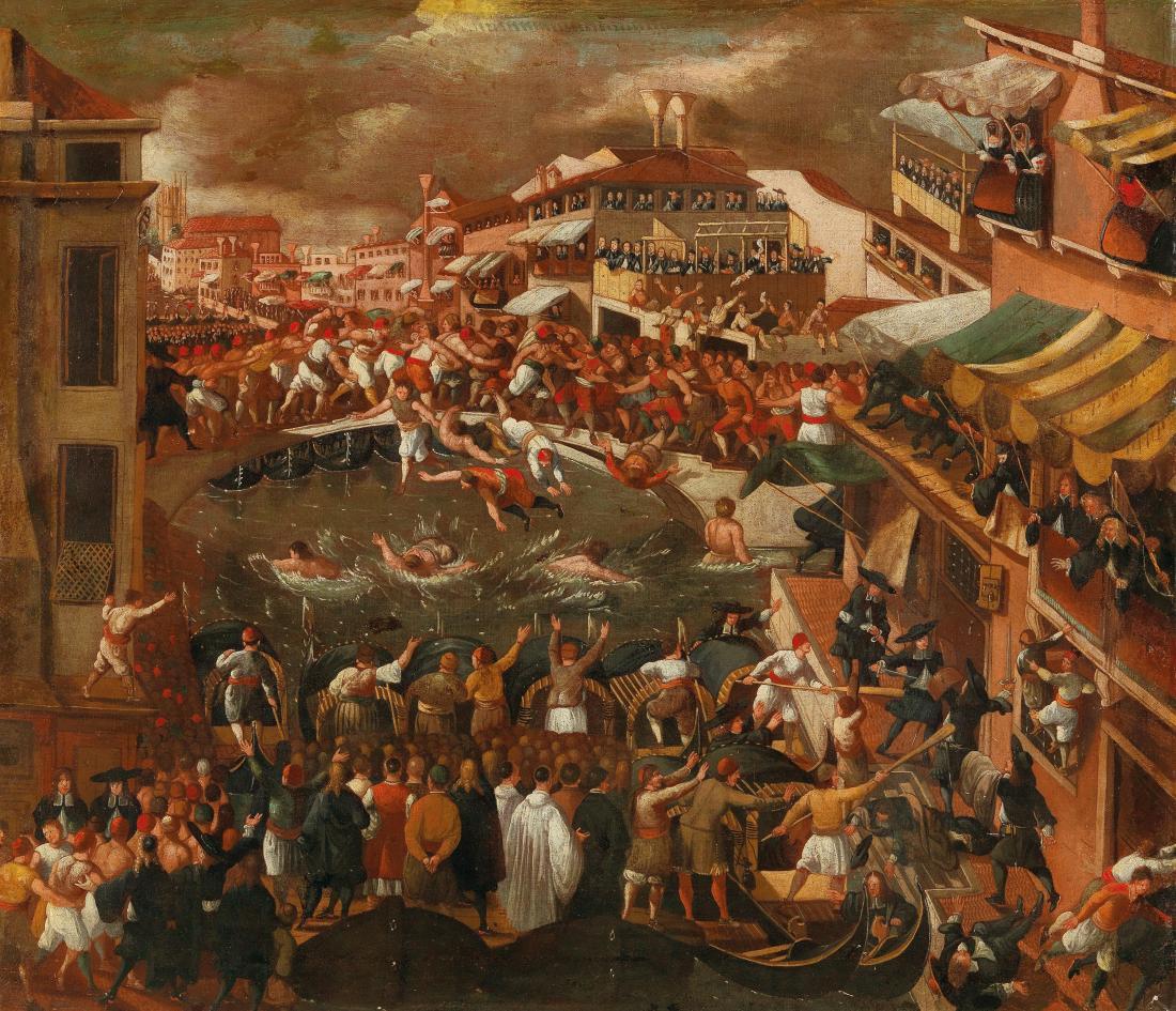 """""""Venice, a view of the Ponte dei Pugni."""" 1600-1678."""