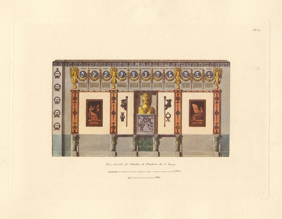 """""""Face latérale de l'Atélier de Peinture du C. I------."""" Plate 2."""