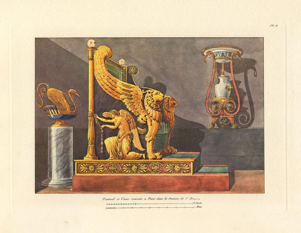 """""""Fauteuil et Vases éxécutés à Paris dans la Maison du C. D------,   p."""" Plate 6, Cahier 1."""