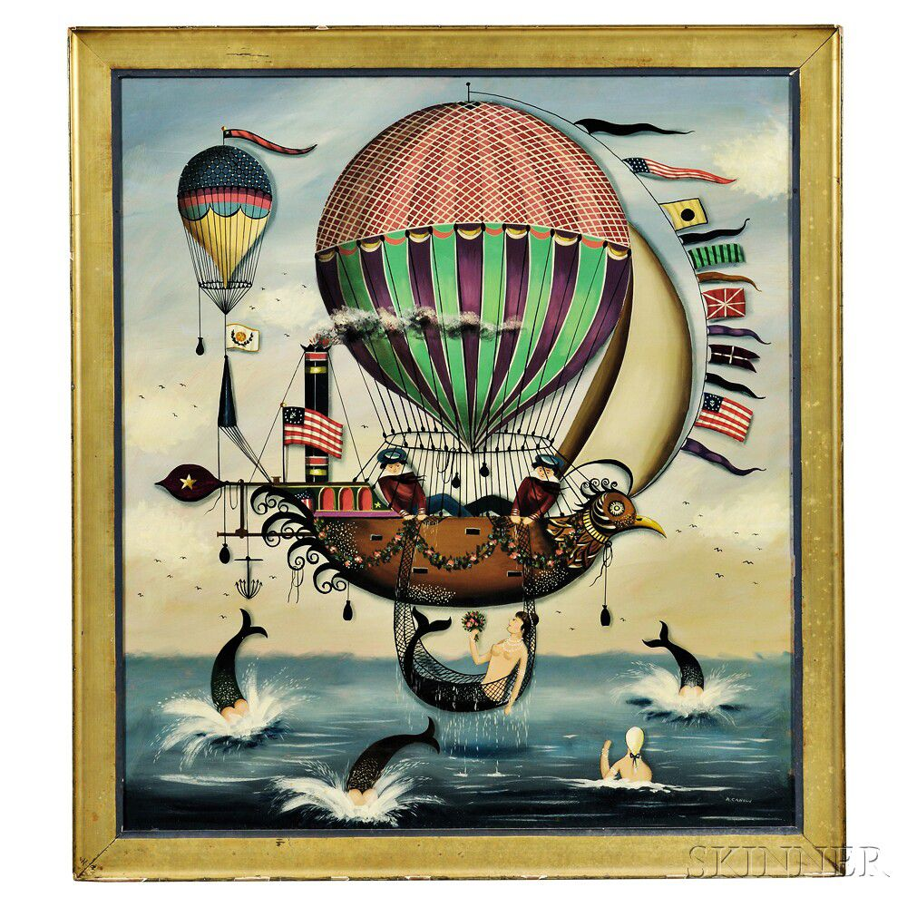 """""""Seascape with Hot-air Balloons, Airship, Sailors, and Mermaids."""" 20th c. Oil on masonite."""