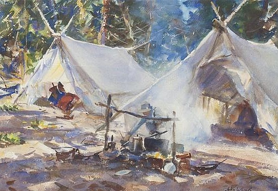 """Camp by the Lake."" 20th c. Watercolor."