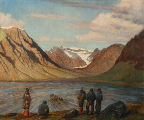 """Sealers watching an Umiak in a Greenlandic Fjord."" No date."
