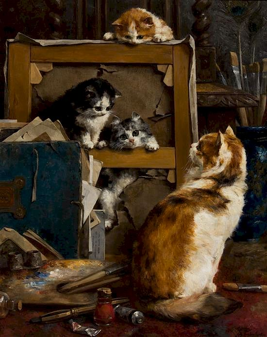 """Cats at Studio."" 1895. Oil on canvas."
