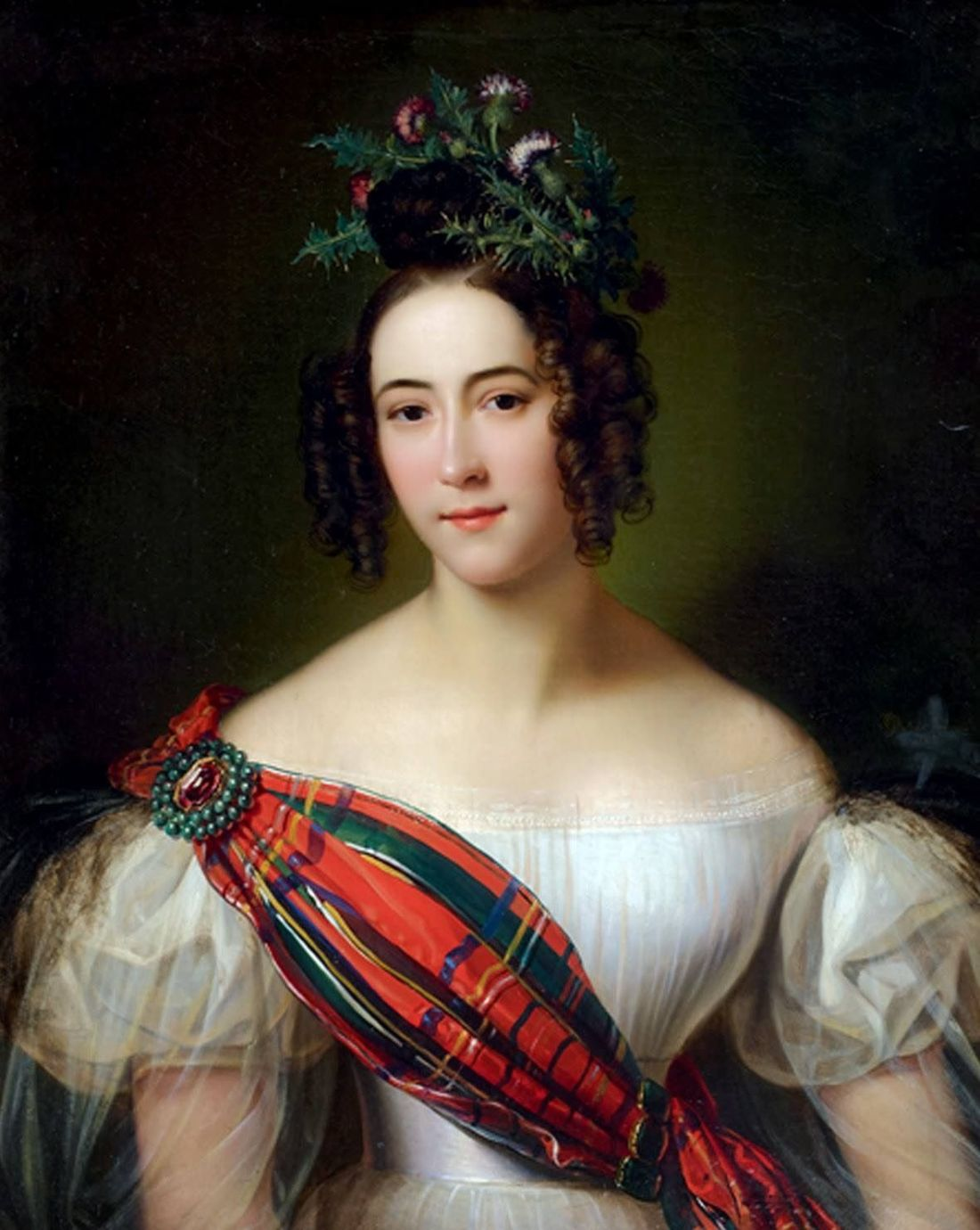 Portrait with a tartan sash, presumably of a Scottish lady. No date.