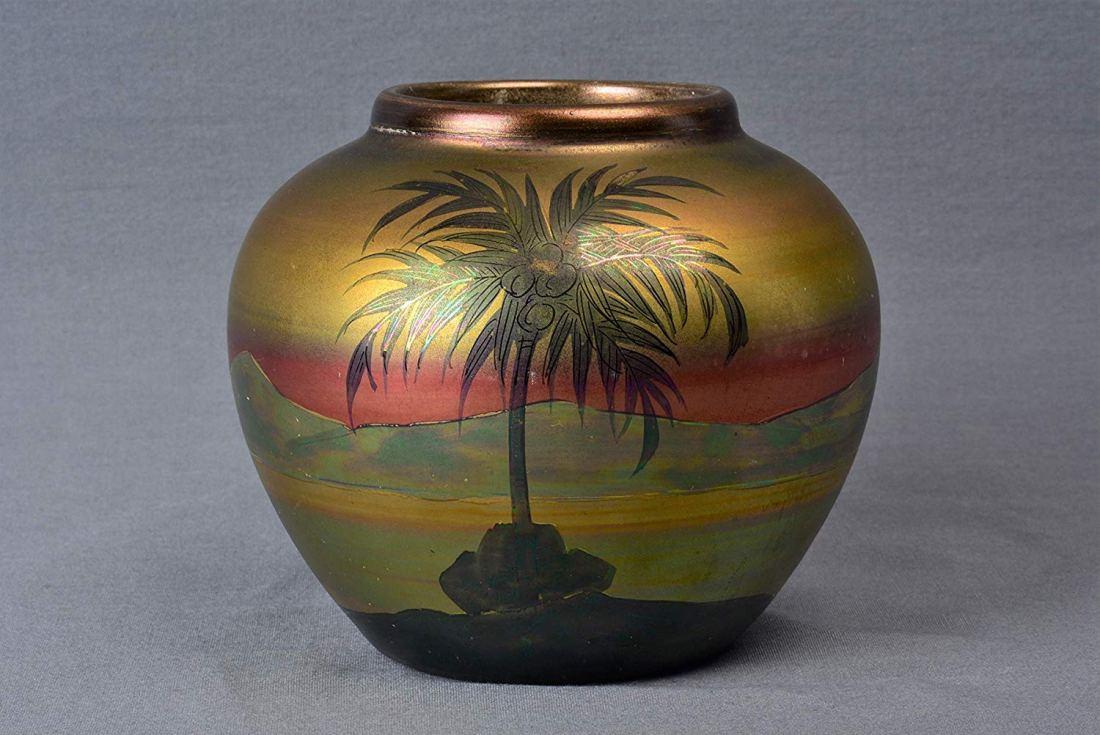 """LaSa"" scene palm tree round vase. 1920-25."
