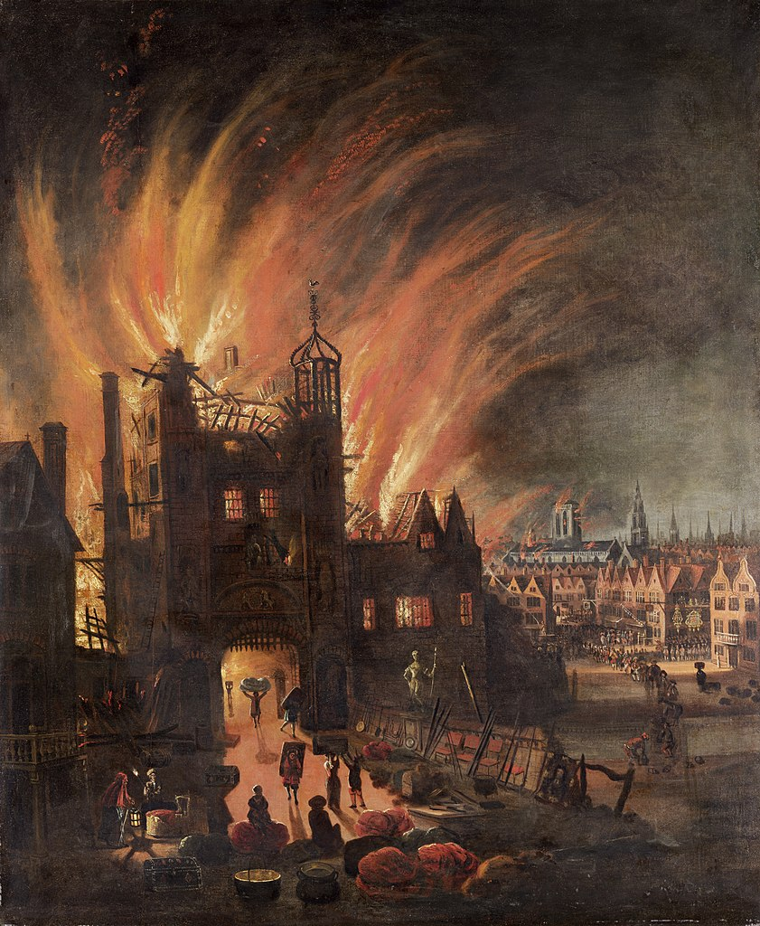 """The Great Fire of London, with Ludgate and Old Saint Paul's."" 1670s."