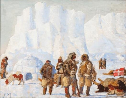 """A Study for a composition depicting participants in an expedition to Greenland."""
