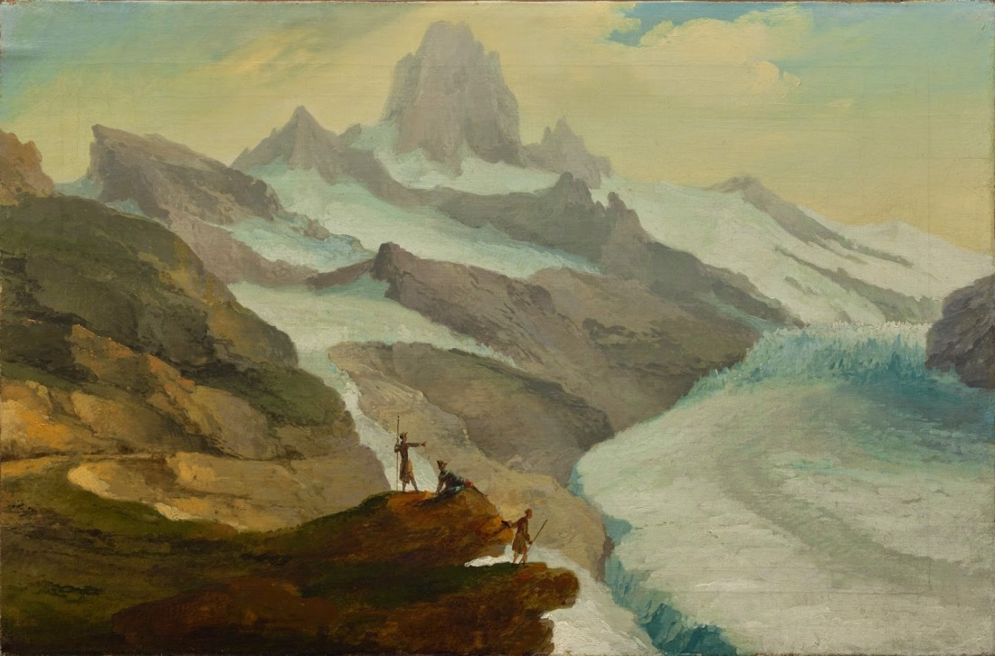 """View of the Bänisegg over the Lower Grindelwald Glacier."" 18th c."
