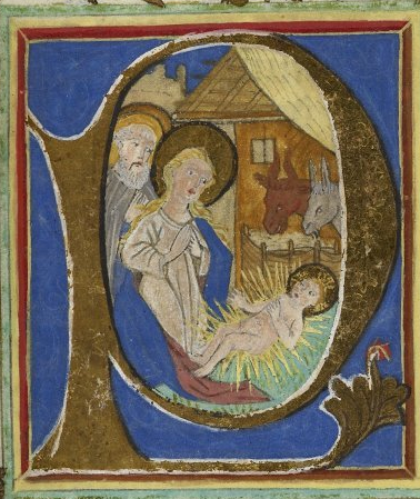 Historiated initial 'P'(uer) of the Nativity with a full border with naturalistic flowers including a rose, a columbine, and lilies, at the beginning of the mass of the Nativity.
