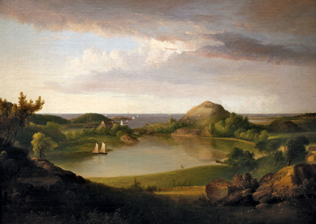 """Harbor Landscape."" 1834. Oil on canvas."