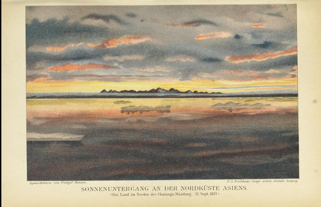 """""""Sonnenuntergant an der nordkuste asiens: das land im norden der Chalanga Mündung, 12 September, 1893."""" 1897."""