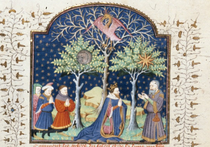 Trees of the sun, moon and phoenix (detail).