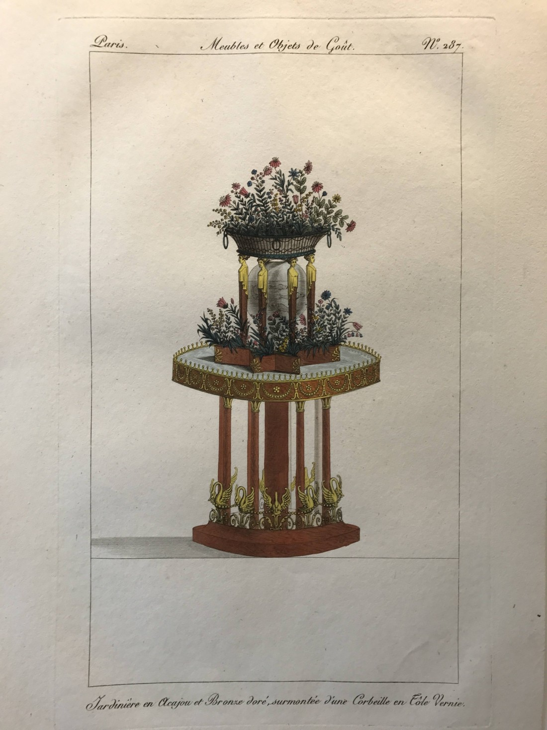 """""""Jardinière en acajou et bronze doré, surmountée d'une corbeille en tôle vernie."""" Number 287."""