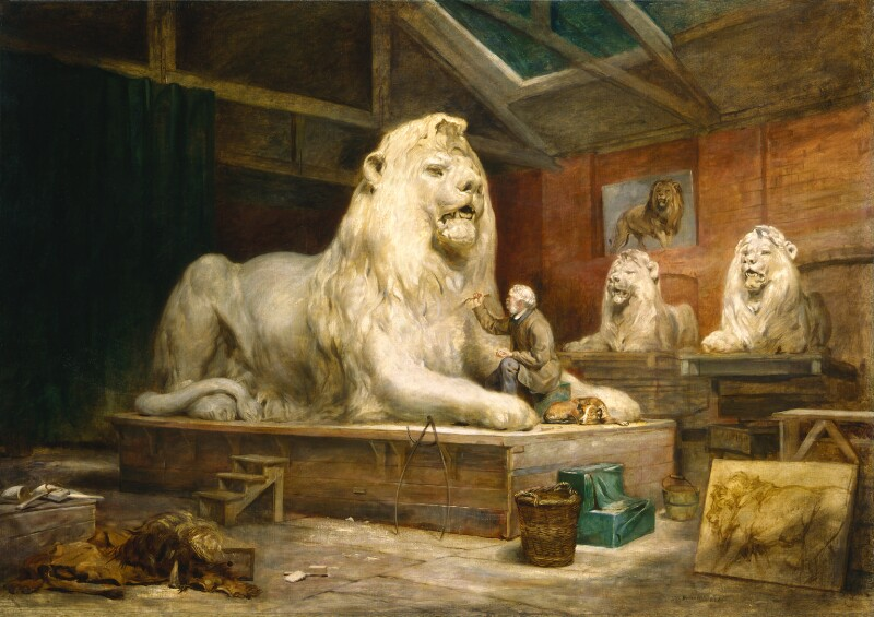 Edwin Landseer, shown in the Kensington studio of Italian-born French sculptor Baron Marochetti modeling one of the lions for the base of Nelson's Column in Trafalgar Square, one of a series of artists in their studios that was exhibited in 1865.