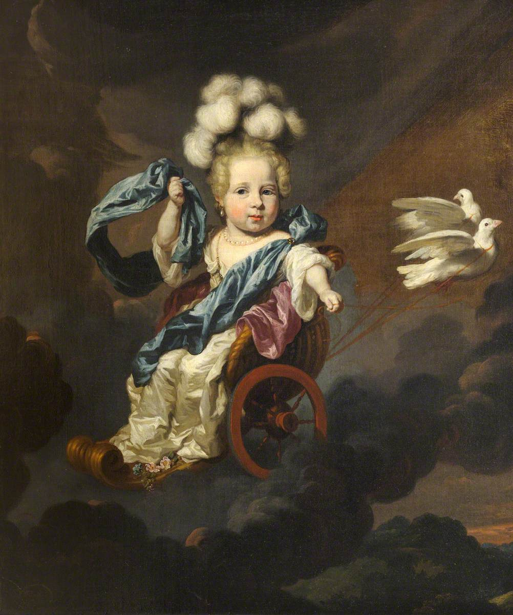 """Portrait of a Baby Girl as Venus, in a Chariot Drawn by Doves."" 17th c."