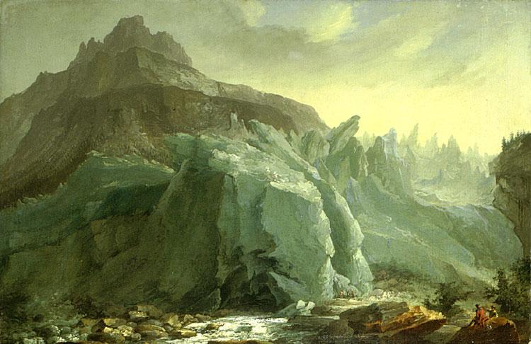 """""""Unterer Grindelwaldgletscher nach dem Vorstoß von 1770."""" 1774."""