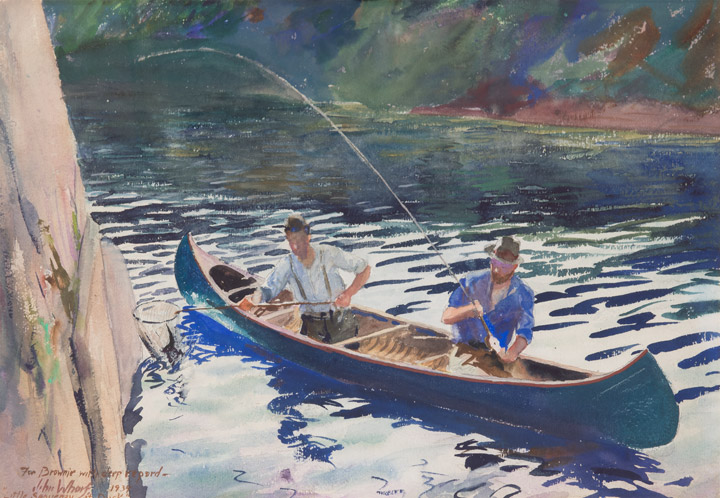 """Fisherman in canoe."" ca. 1939. Watercolor."