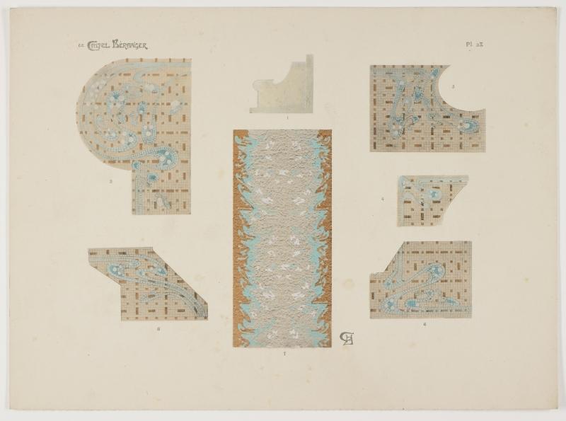 """""""Plan de la mosaique du Vestibule (second corps de batiment)."""" Plate 28, figures 1-7."""
