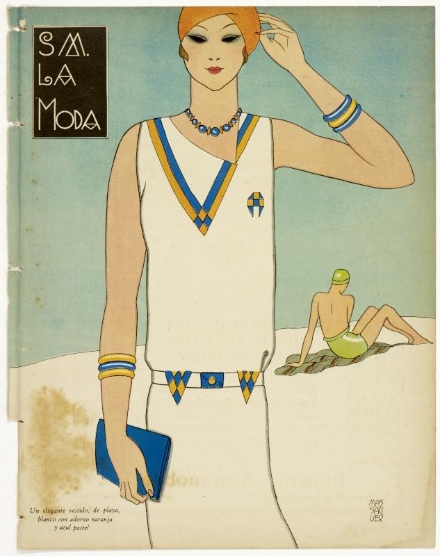 """""""S M., La Moda: un elegante vestido, de playa, blanco con adorno maranja y azul pastel."""" No exact date."""