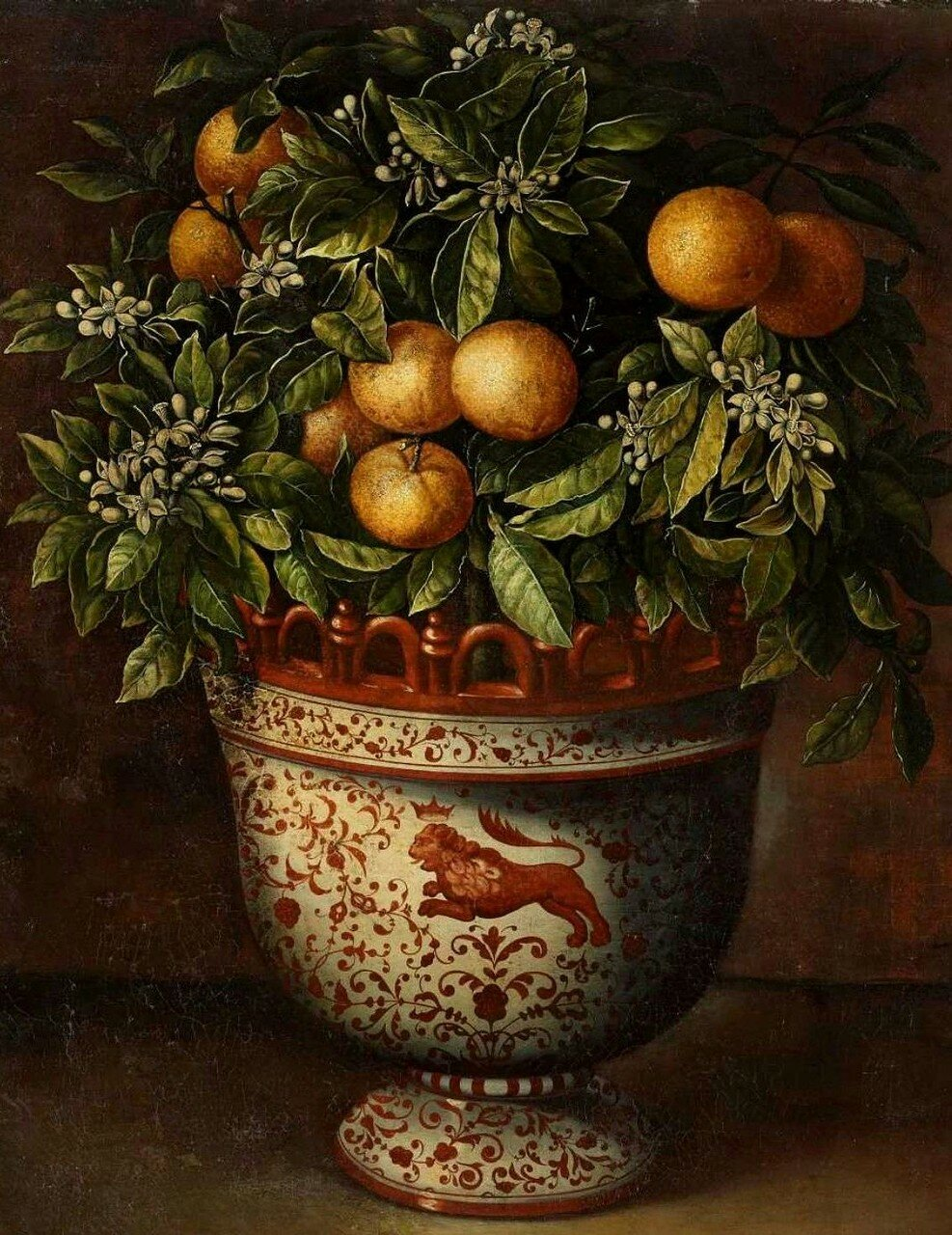 """A Painted Ceramic Vase with an Orange Tree."" No date. Oil on canvas."