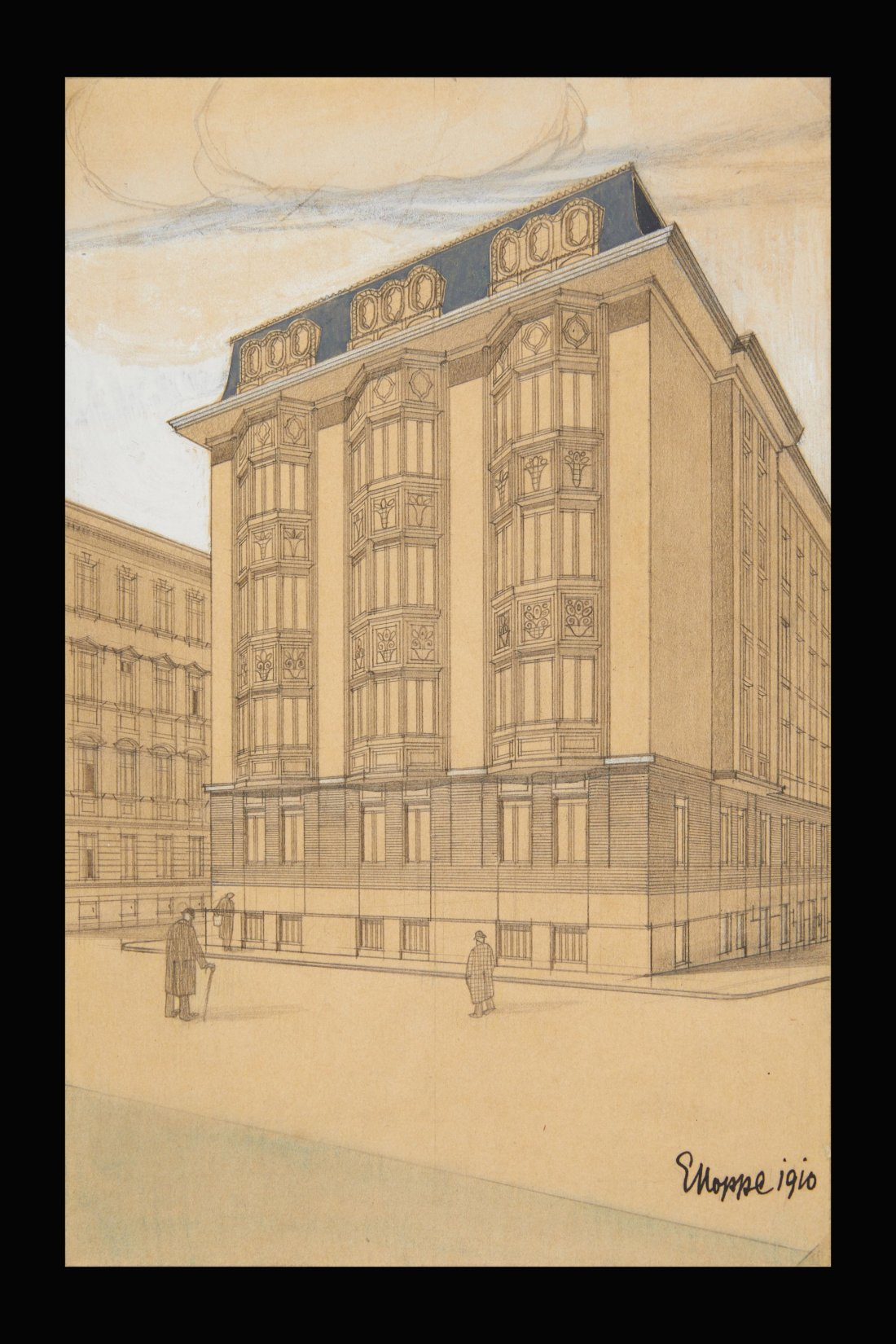 """Design for apartment building, Martinstrasse 17, Vienna."" 1910."