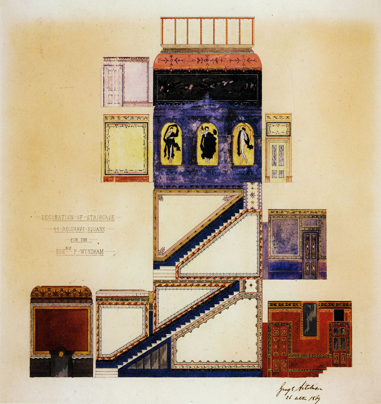 """""""Design for the decoration of the staircase, 44 Belgrave Square."""" 1870. British."""