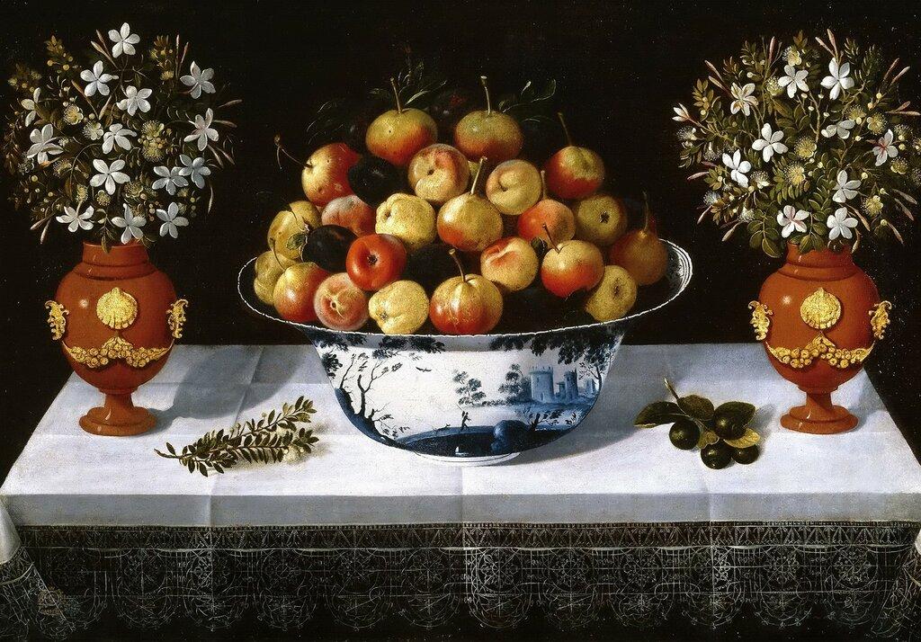 3. Натюрморт с фруктами и цветами в вазах