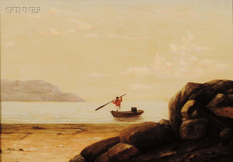 """""""Boat in Gloucester Harbor."""" 19th c. Oil on canvas."""