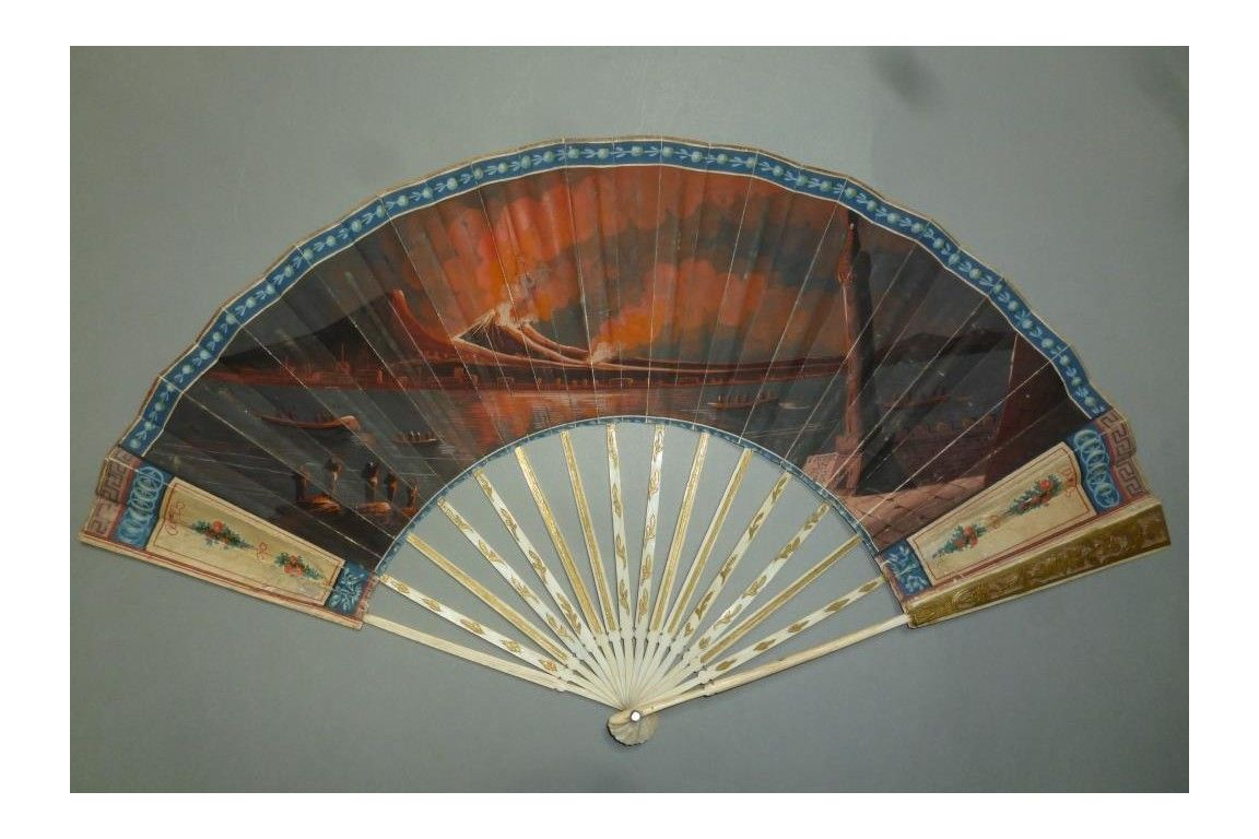 Ivory fan with the skin leaf painted with a night eruption of Mount Vesuvius in the Bay of Naples. ca. 1794.