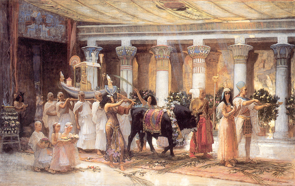 """""""The Procession of the Sacred Bull Anubis."""" 1885. Oil on canvas."""