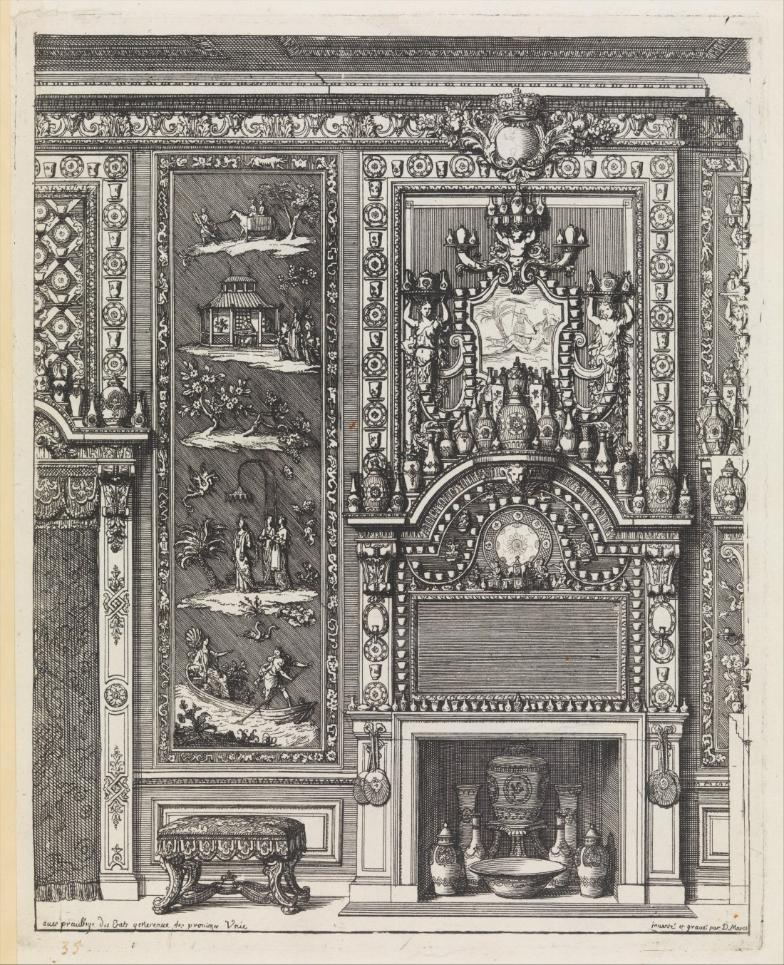"""Title page from """"Oeuvres du Sr. D. Marot"""" which was published in The Hague by  Pierre Husson in 1703 or 1712."""