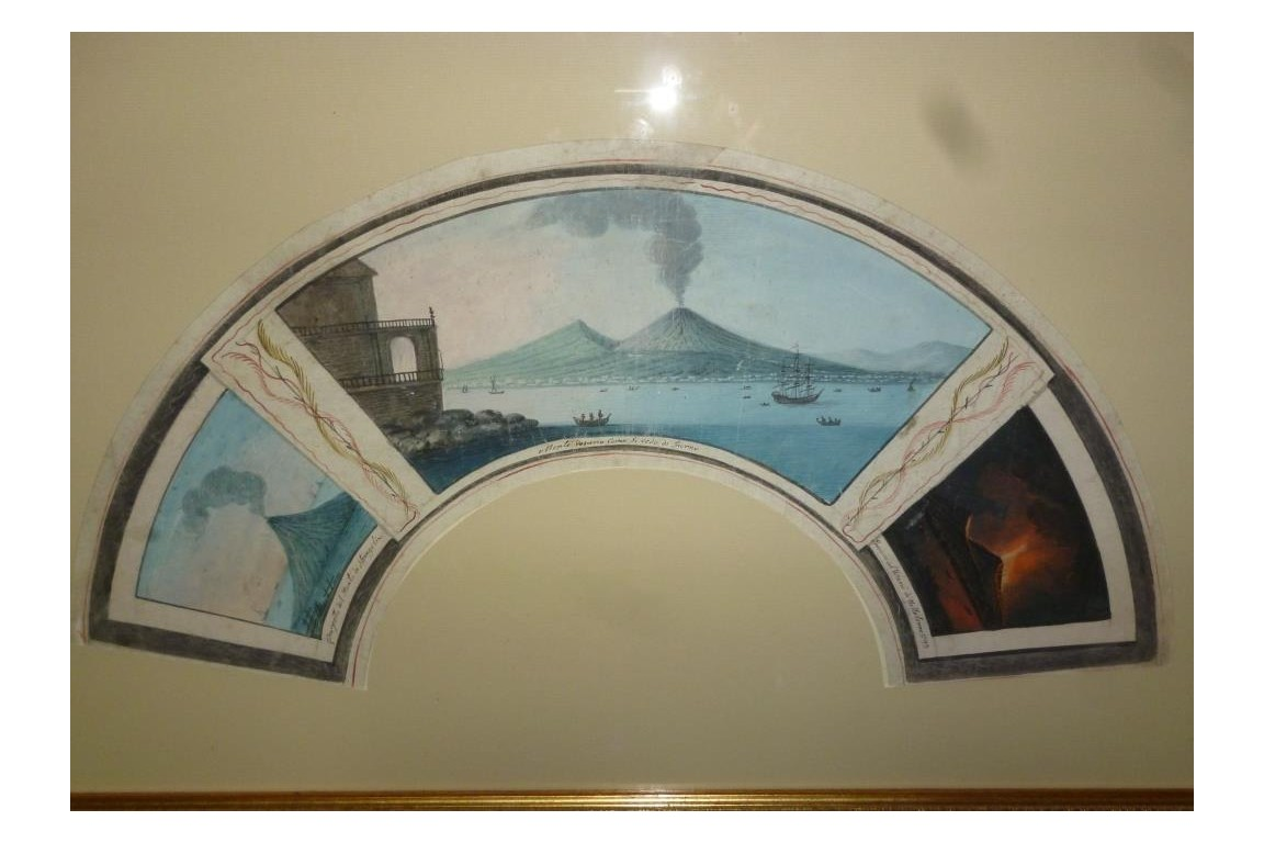 Grand Tour fan leaf painted with three eruptions of Vesuvius and Stromboli.