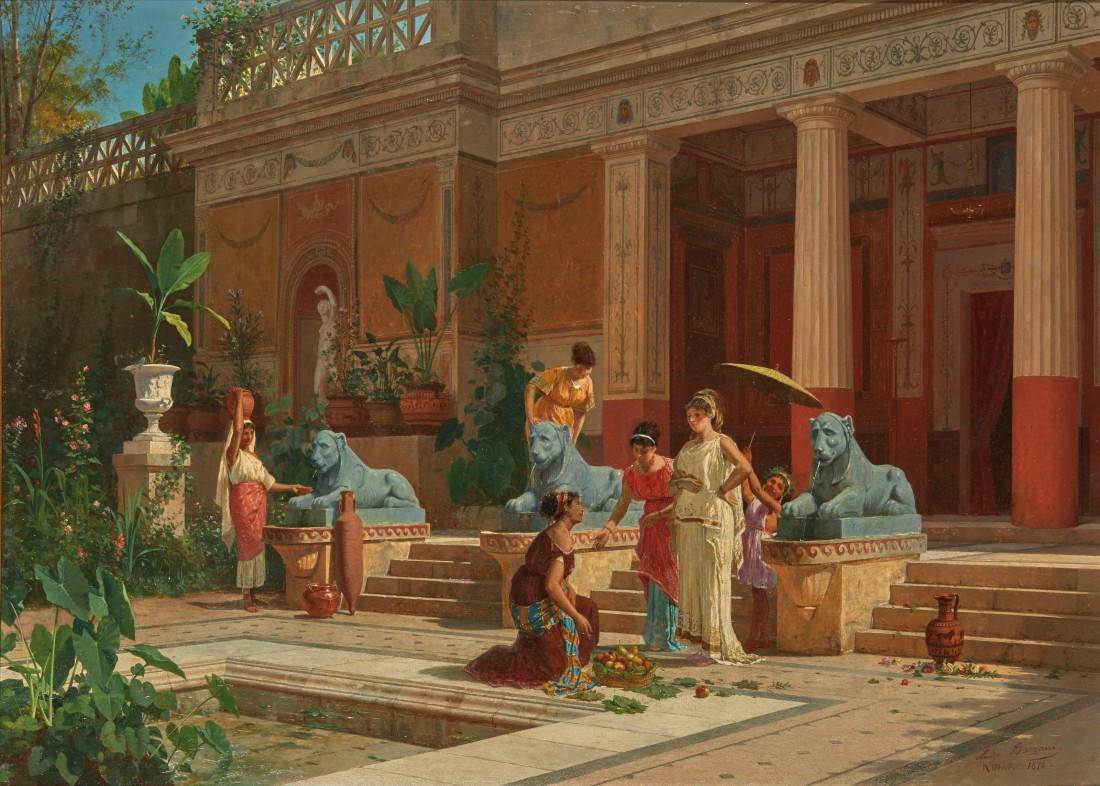 """""""Fruit seller in the courtyard of a Pompeian Villa.""""  1876."""