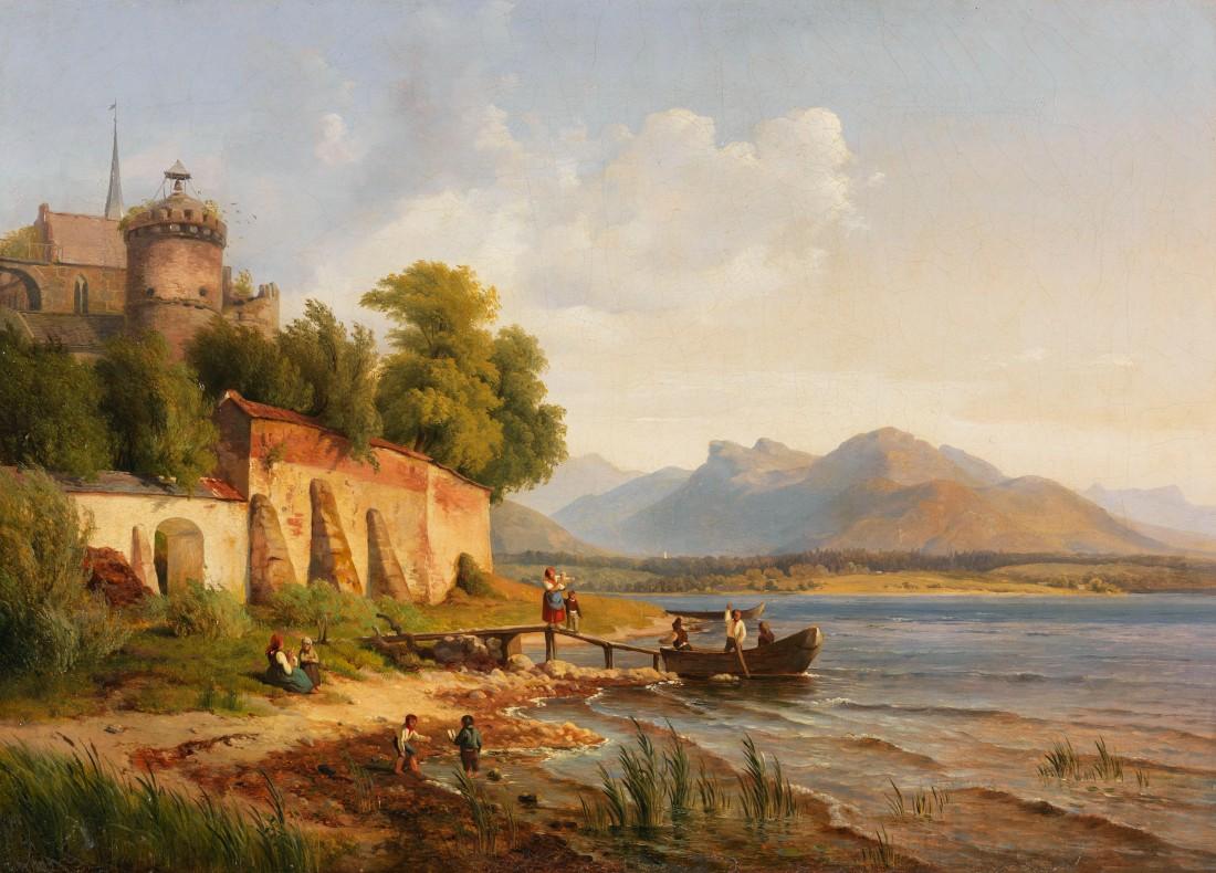 """""""Oberitalienische Küstenlandschaft mit Figurenstaffage."""" 1838. Oil on canvas."""