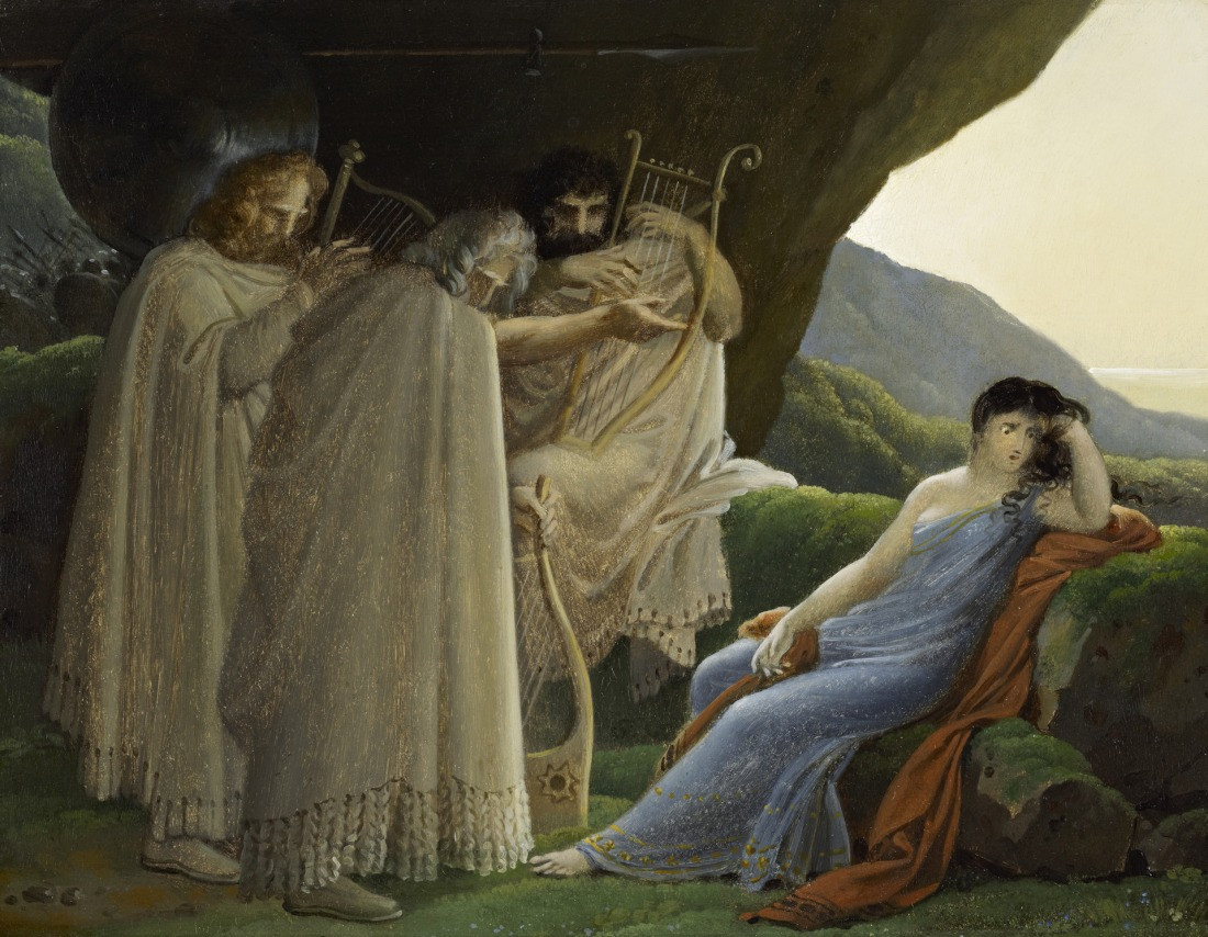 """""""Malvina Mourning the death of her Fiancé Oscar."""" 19th c."""